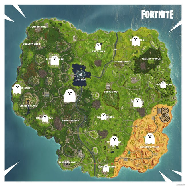 List of Fortnite Ghost Decorations Locations at Fortnitemares Challenges